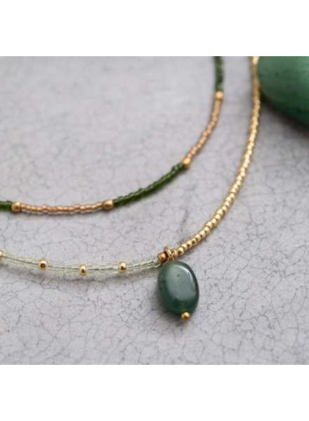 A Beautiful Story Rainbow Necklace Aventurine Gold