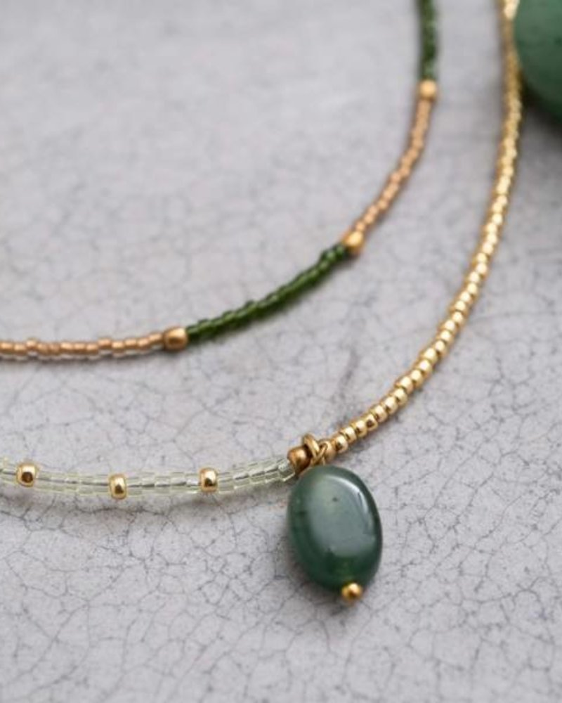 A Beautiful Story Rainbow Necklace Aventurine Gold