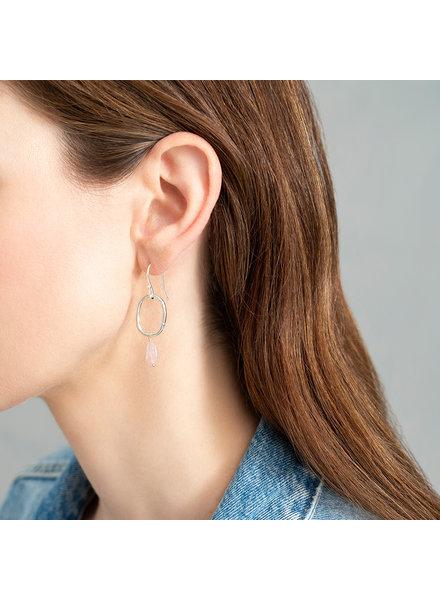 A Beautiful Story Graceful Earrings Rose Quartz Silver