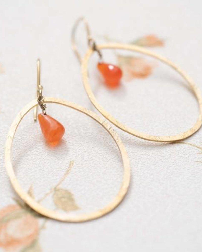 A Beautiful Story Ellipse Earrings Carnelian Gold