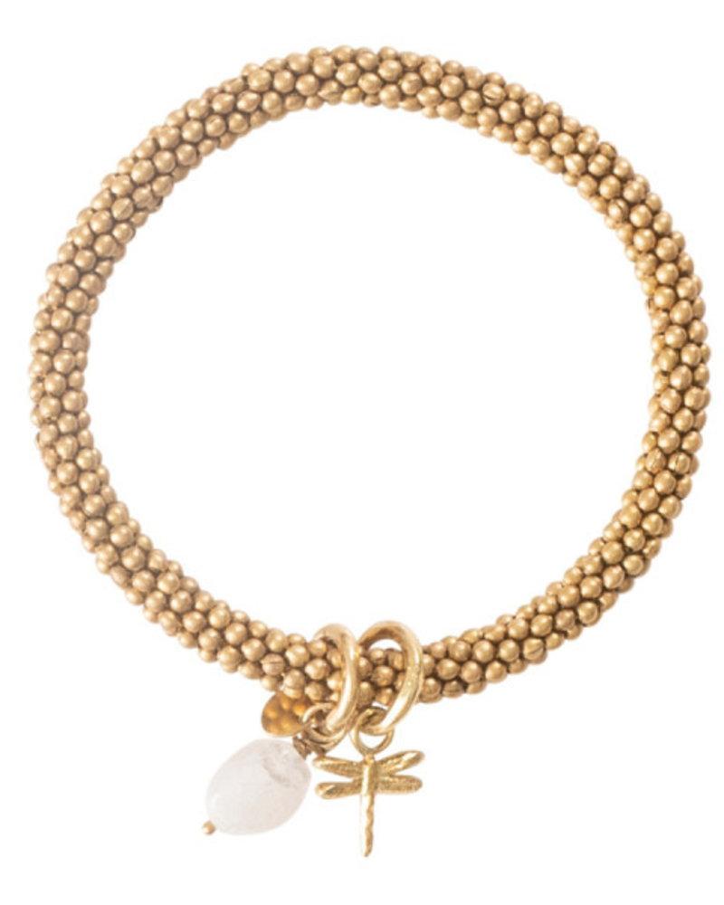 A Beautiful Story Jacky Bracelet Moonstone Dragonfly Gold
