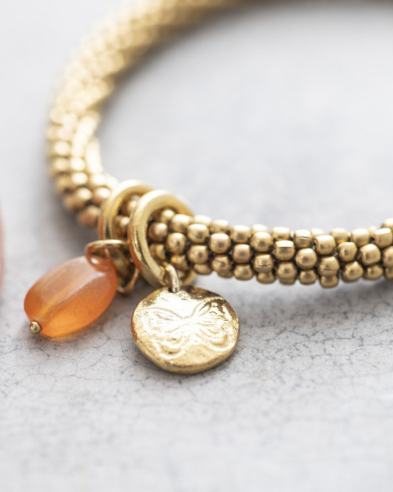 A Beautiful Story Jacky Bracelet Carnelian Butterfly Gold