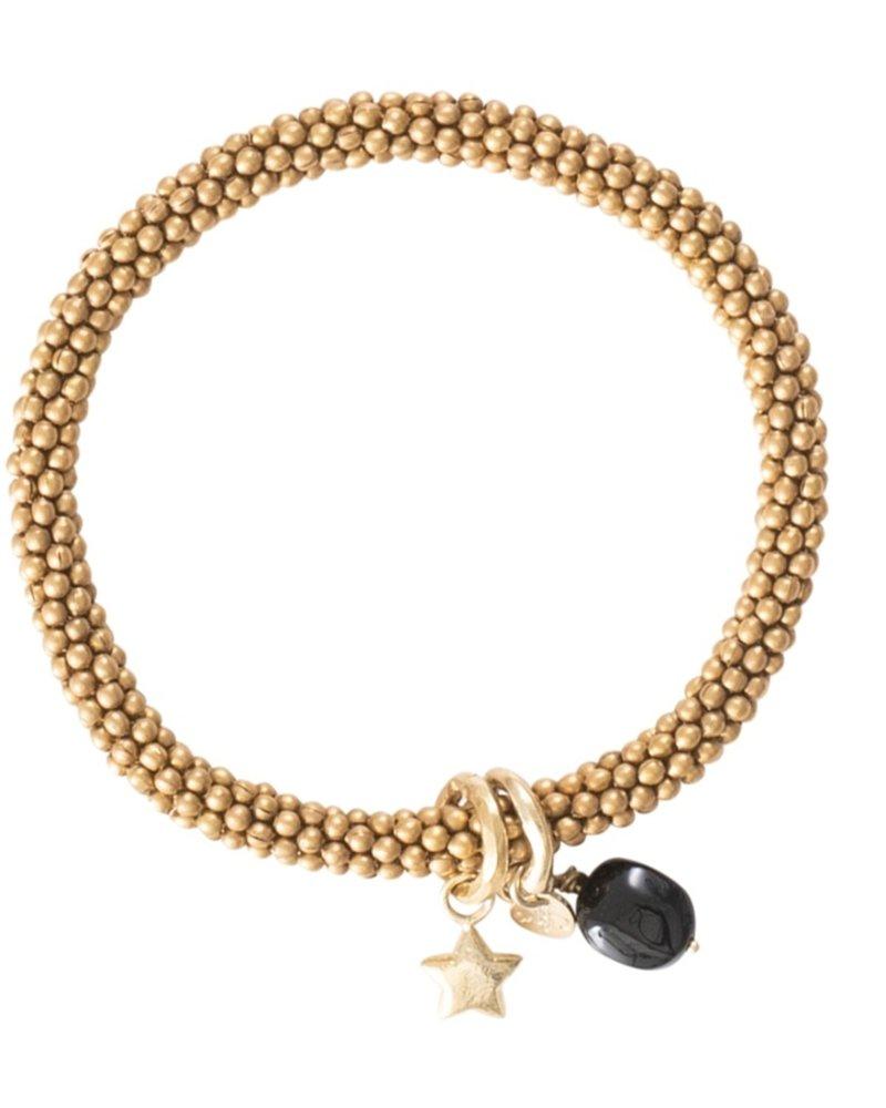 A Beautiful Story Jacky Bracelet  Black Onyx Star Gold