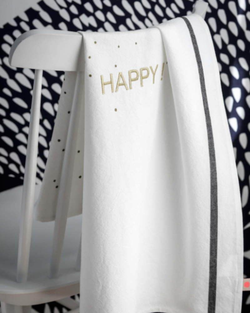 La cerise sur le gâteau Tea Towel Happy Or