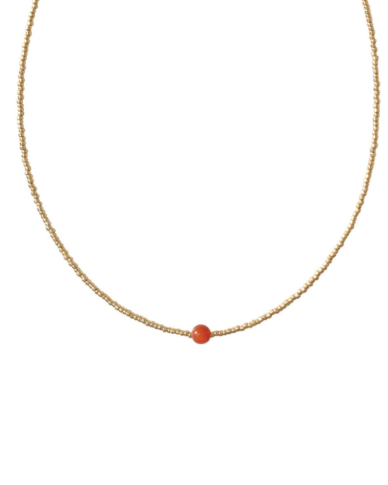 A Beautiful Story Flora Necklace Gold carneool