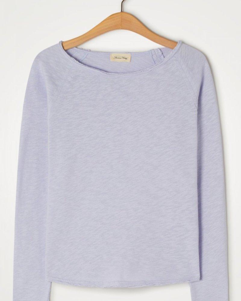 American Vintage Sonoma T-shirt met boothals en lange mouwen Lilac