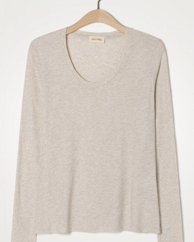 American Vintage T-shirt met lange mouwen en U-hals Creme Chiné