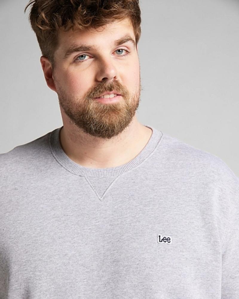 Lee Jeans Plain Crew Sweatshirt Grey Mele