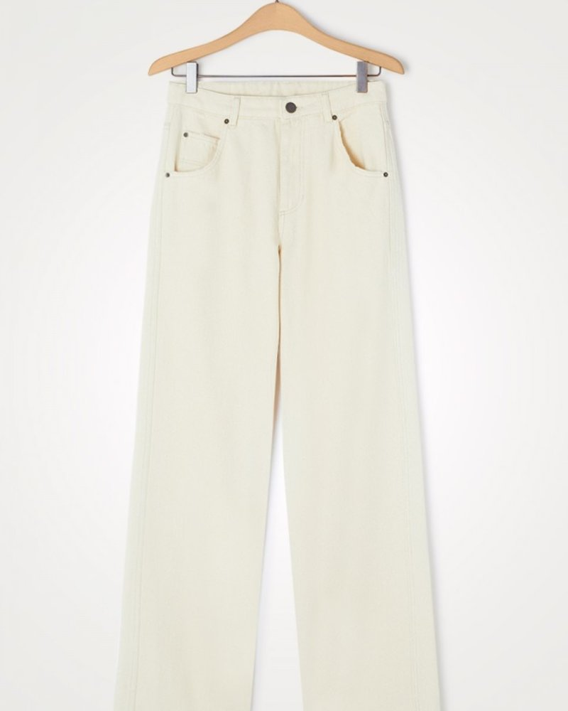 Jeans 5 poches Le Big Droit Ecru