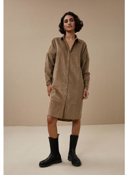 By Bar Cord Dress Dry Khaki