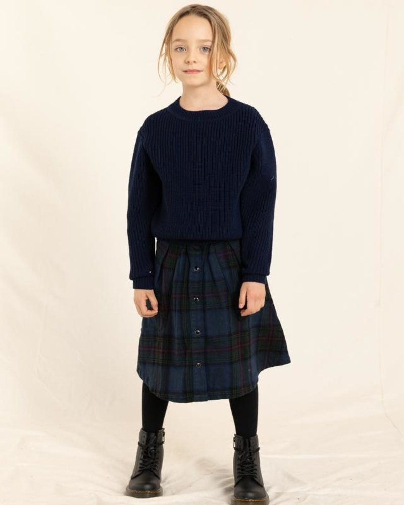 Finger in the nose Winny Long Skirt Navy Big Checkers