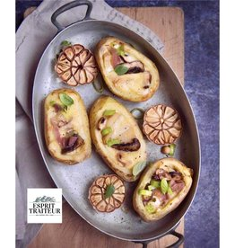 Pommes de terre farcie raclette et lardons fumés