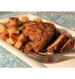 Pain de viande pois et carottes pommes rissolées