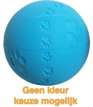 Merkloos Bal rubber pawprint/geluid   7,5 CM