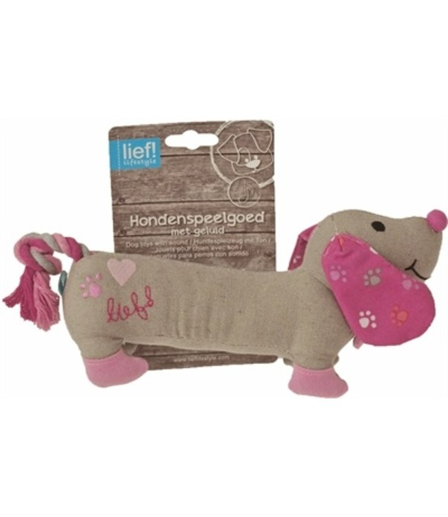 Lief! hondenspeelgoed canvas teckel met piep girls roze
