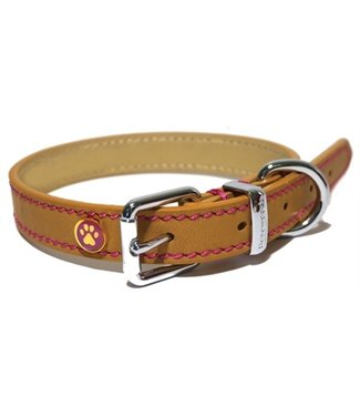 Rosewood Luxury leather halsband hond leer luxe zand  | 25-56 CM