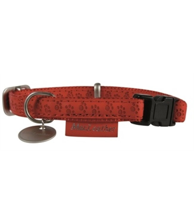 Macleather halsband rood