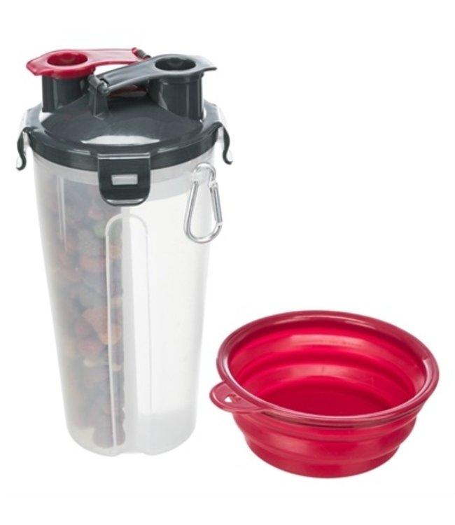 Trixie waterfles / voerfles inclusief reisbak kunststof / silicone