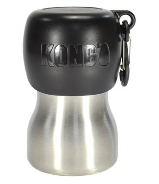 Kong Kong h2o drinkfles rvs zwart | 280/740 ML