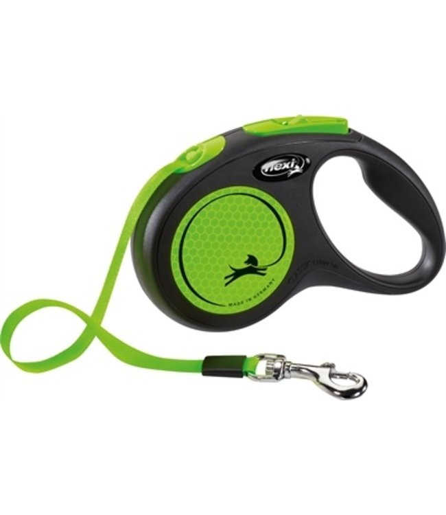 Flexi rollijn new neon tape zwart / neon groen