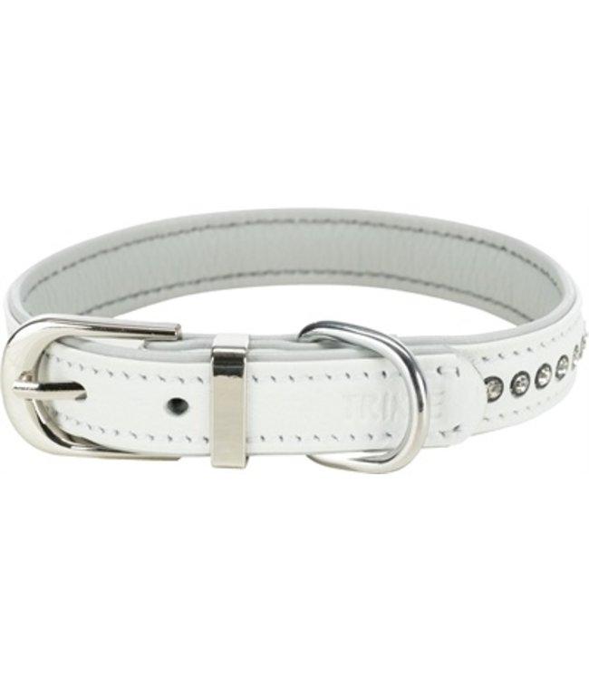 Trixie halsband hond active comfort met strass steentjes leer wit