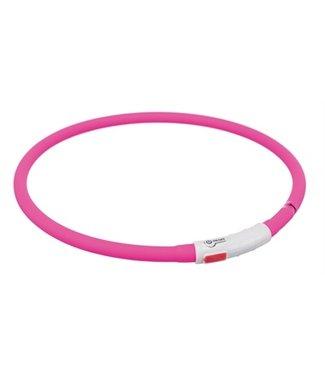 Trixie Trixie halsband usb flash light lichtgevend oplaadbaar roze | 35-70 CM