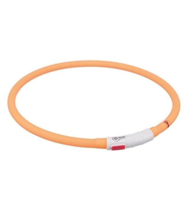 Trixie halsband usb flash light lichtgevend oplaadbaar oranje