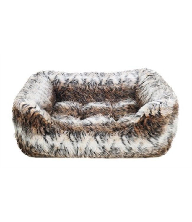 Rosewood hondenmand cosy vacht print bruin