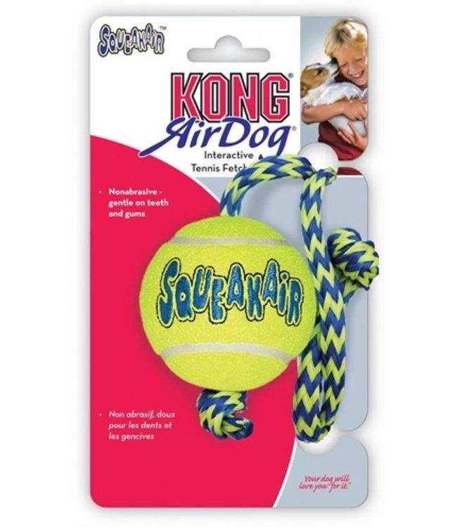 Kong squeakair bal met touw geel / blauw