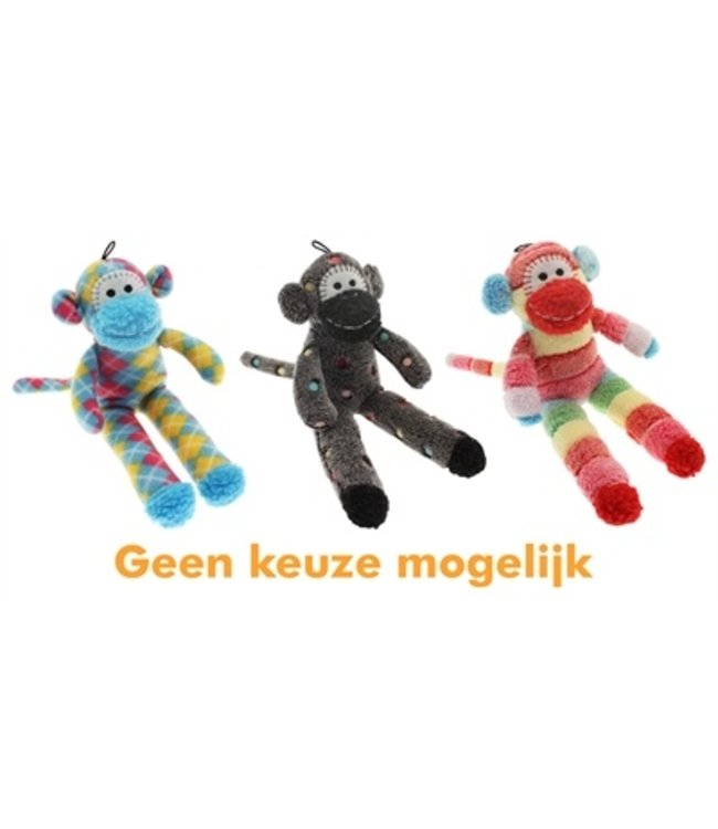 Multipet pluche sock monkey assorti