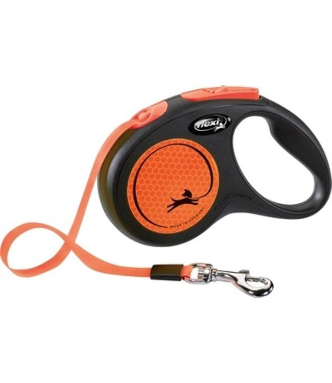 Flexi rollijn new neon tape zwart / neon oranje
