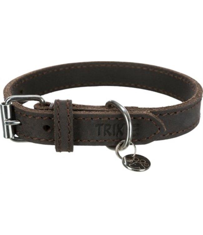 Trixie halsband hond rustic vetleer donkerbruin