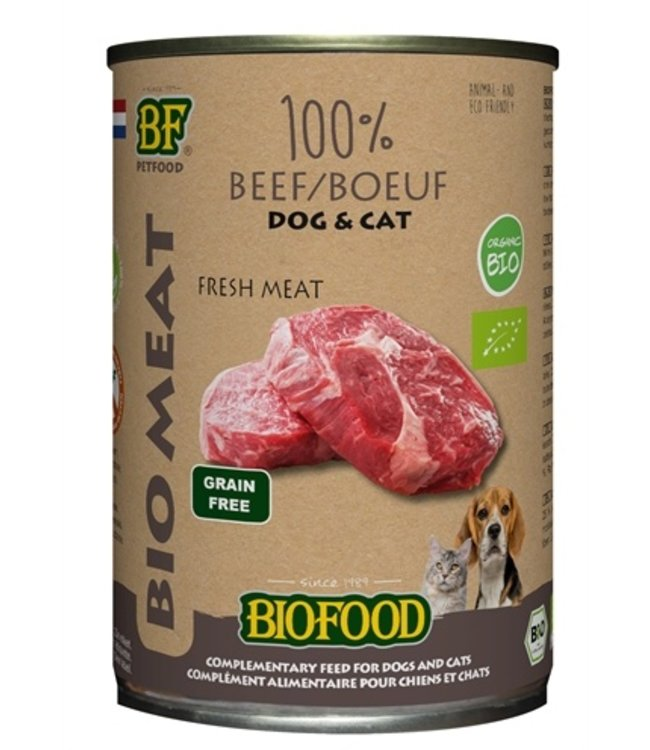 12x biofood organic hond 100% rund blik