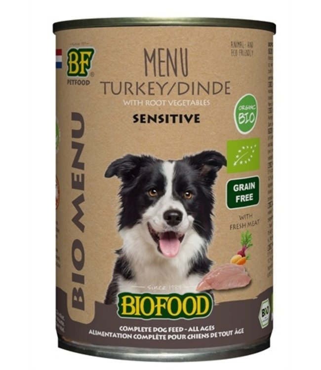 12x biofood organic hond kalkoen menu blik