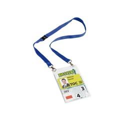 Badge Durable voor evenementen A6 met koord blauw