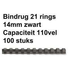 Bindrug GBC 14mm 21rings A4 zwart 100stuks