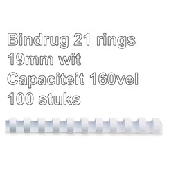 Bindrug GBC 19mm 21rings A4 wit 100stuks