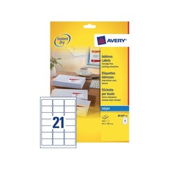 Etiket Avery J8160-25 63.5x38.1mm wit 525stuks