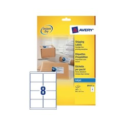 Etiket Avery J8165-25 99.1x67.7mm wit 200stuks