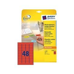 Etiket Avery L6038-20 45.7x21.2mm rood 960stuks