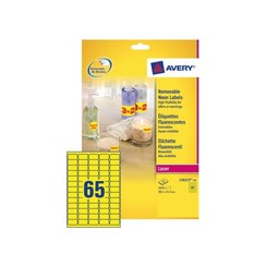 Etiket Avery L7651Y-100 38.1x21.2mm neon geel 6500stuks