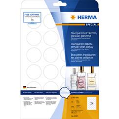 Etiket Herma 8023 40mm rond 600st transparant