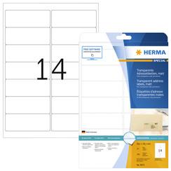 Etiket Herma 8671 A4 99.1x38.1mm 350st folie transparant mat