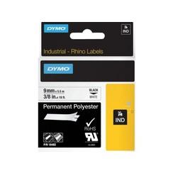 Labeltape Dymo Rhino 18482 polyester 9mmx5.5m zwart op wit