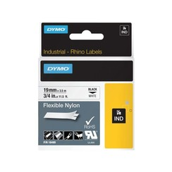 Labeltape Dymo Rhino 18489 nylon 19mmx3.5m zwart op wit