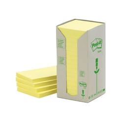 Memoblok 3M Post-it 654YRT 76x76mm 16 stuks recycled pastel geel