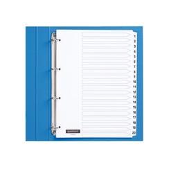 Tabbladen Quantore 4-gaats 1-20 genummerd wit karton