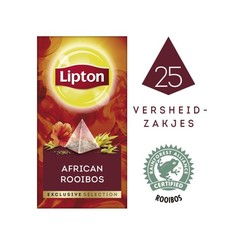 Thee Lipton Exclusive Afrikaanse Rooibos 25 piramidezakjes