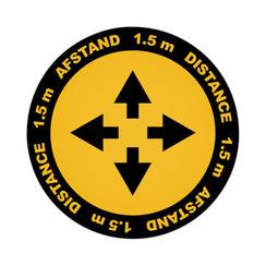 Vloersticker Metafas kruispunt twee-talig Ø20cm