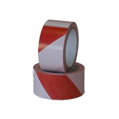Waarschuwingstape Budget rood/wit 50mmx66m